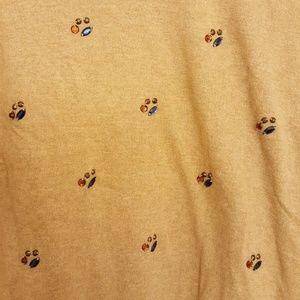 Merona Embellished Jewel Tan Cotton Sweater L
